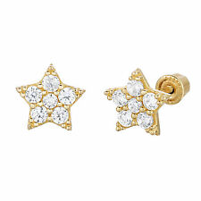 14k Gold Small Star shaped CZ Stud Earrings with Secure Screwbacks for Girls