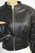 BEBE JACKET coat crop moto Cropped Zipper Leather Jacket 203614 large