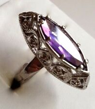 Silver Plated Amethyst Cocktail Ring Marquis Purple Cubic Zirconia Size 6 7 8 9