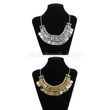 Women Vintage Coins Pendant Statement Necklace Choker Chunky Bib Necklace