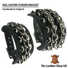 Handmade Adjustable Conical Chain Studded %100 Real Leather Wristband Bracelet