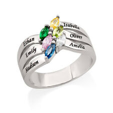 Mother Ring, Birthstone Ring, 6 Stones, Personalized, Sterling Silver,