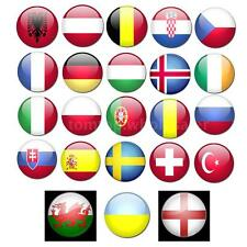 12pc European Cup Olympic Games World Handheld Flag With Flagpole 20 * 28cm M0B1