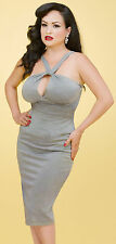 Stop Staring! - Fitted Gray Metallic Wiggle Dress.  New With Several Sizes.