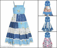 Girls Butterfly Denim Floral Lace Sleeveless Strappy Party Dresses 2-11 Years