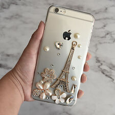 3D Luxury Handmade Bling Flower Crystal Diamond Eiffel Tower Hard Case Cover