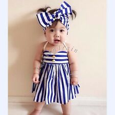 Baby Kid Girls Summer Clothing Pageant Wedding Party Striped Tutu Flower Dress