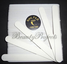 "50pcs Professional Acrylic Nail File 180/180 Grit White Nail Files Round 7"" NEW"