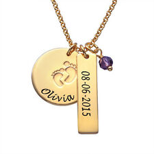 Engraved Baby Feet Charm Necklace in 18K Gold Plating- New Mom Jewelry
