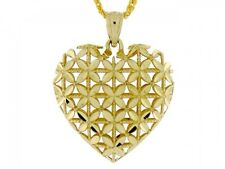 10k / 14k Solid Gold Puffed Heart Charm Pendant