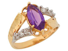 10k / 14k Two-Tone Gold Simulated Alexandrite June Birthstone Vintage Ring