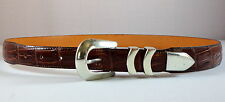 Brown Leather Belt Mens 38 Croc Print with Silver Tone Buckle and Tip