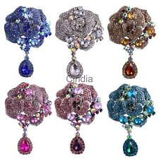 Women Gorgeous Vintage Large Flower Floral Brooch Pin Crystal Teardrop Pendant