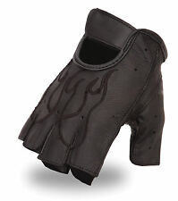 First Classics Men's Embroidered Fingerless Leather Gloves FI166GEL