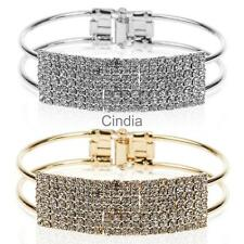 Fully-Jeweled Rhinestone Bangle Cuff Bracelet Jewelry Gift for Women Girls
