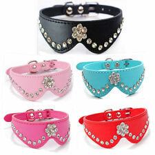 Rhinestone Dog Collar PU Leather Small Dog Collars Puppy Collar Pet Cat Bling XS
