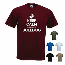 'Keep Calm and Walk the Bulldog' Mens funny Pet Dog Gift T-shirt. S-XXL