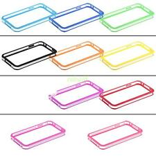 clear frame bumper case skin cover with metal buttons for apple iphone 4g 4th 4s