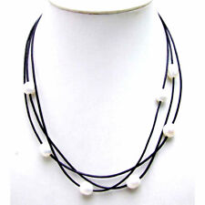 "SALE 10-11mm white rice natural Freshwater Pearl 3 Strands 19-21"" necklace-5935"