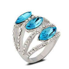 18K White Gold Plated Blue Crystals Ring Elegant Jewelry CZ Rhinestone