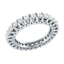1.40 ct Round Cut D/VVS1 14k Solid White Gold Full Eternity Wedding Band Ring