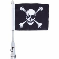 Skull Crossbones Pirate Banner Johnny Roger Motorcycle Flagpole Flag Pole Mount