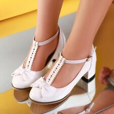 Womens Sweet Bowknot T Strap Cuban Heel Mary Janes Pumps Court Shoes Plus Size