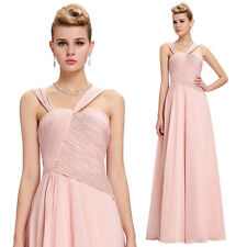 2016 Womens Long Chiffon PINK Bridesmaid Cocktail Dress Formal Evening Party
