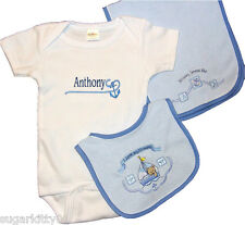 Personalized Baby Boy Onez Bib & Burp I Love Mommy- Sail Boat Design Free Ship