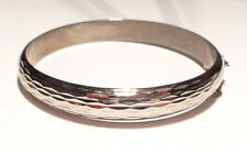 VINTAGE WIDE ETCHED BANGLE LADIES BRACELET STERLING SILVER 925 12.5g