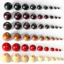 50Pcs Round Wood Beads DIY Jewelry Making Necklace Craft Findings (choose size)