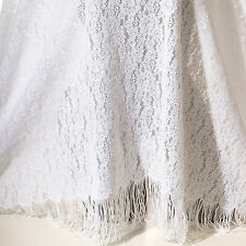 White Stretch Lace Fabric With Fringe Edging Nylon Lycra Spandex BTY
