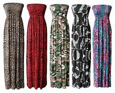 New Women Ladies Boobtube Bandeau Long Strapless Printed Sheering Maxi Dress8-26