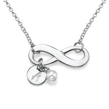 Sterling Silver Infinity Necklace with Engraved Initial Charm