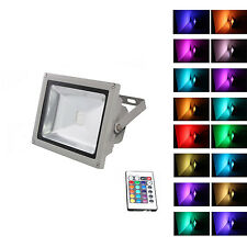 RGB 10 20 30 50W 110V LED Flood Light Remote control Gray IP65 Changeable Lamp