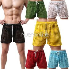 Sexy Mens Hollow Openwork Boxers Shorts Beach Swim Trunks Underwear Underpants
