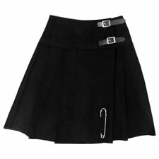 "Tartanista Womens Black 20"" Wrap Around Knee Length Kilt Skirt With Free Pin"