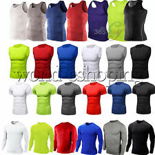 Mens Compression Under Shirt Base Layer Tight Tops Sports T-Shirts Athletic Wear