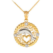 14k Gold Rope Circle 4 Diamonds Jumping Dolphin Heart Filigree Pendant Necklace