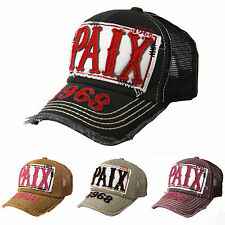 Vintage Distressed Peace PAIX Patch Mesh Hats Trucker Baseball Caps Snapback
