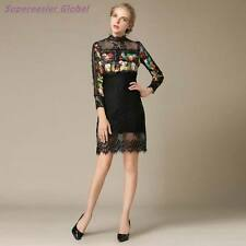 Fashion Lace Print Long Sleeve Mini Dress Women Slim Sexy Evening Party Dress