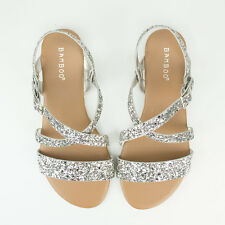 New Womens Silver Glitter Slingback Heels Extra Wide Fit