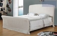 Natural Fabric 1 Pcs Bed In Queen Cal King & Est King Bed Sizes Headboard Rails