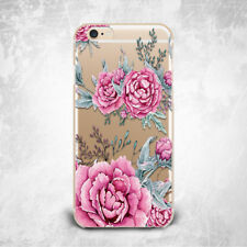 Fashion Pink Flower Floral TPU Silicone Rubber Clear Case Cover Skin for iPhone