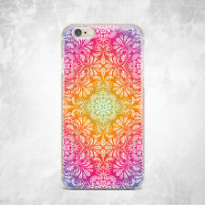 Floral Henna Mandala Custom TPU Silicone Rubber Clear Case Cover Skin for iPhone