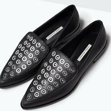 ZARA Woman BNWT Black Flat Studded Instep Leather Shoes 1336/001 RRP GBP 69.99