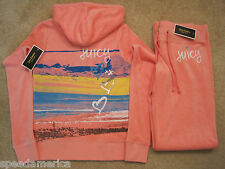 NWT Juicy Couture Pink Heart Malibu Velour Hoodie Pants Tracksuit Set Small $238
