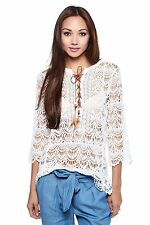 Womens Casual Boho Laced Up Feather Crochet 3/4 Sleeves Knit Top Blouse Cotton