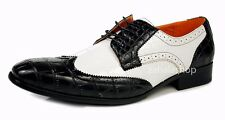 Ferro Aldo Men Fashion Wingtip Oxfords Spectator Dress Shoes Black White