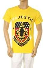 Mens New Majestic Fleur De Lis Star American Flag Graphic Yellow Cotton T-shirt